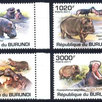 Бурунди 2011 ** Фауна Гипопотамы Бегемоты серия MNH