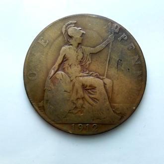 Великобритания 1 пенни (Penny) 1912 год