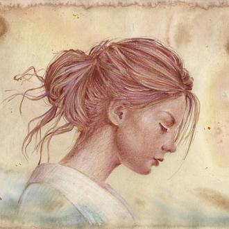 Девушка в кимоно. Рисунок, ручная работа, 2019г Автор - Мишарева Наталья