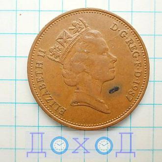 Монета Великобритания 2 пенса 1987 Бронза