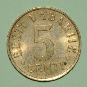 (А) Эстония 5 сентов, 1991