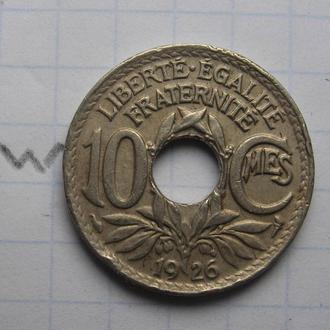 Франция. 10 сантимов 1926 года.