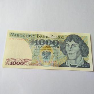 1000 злотих, 1982, Польща, unc, оригинал Класс цена!