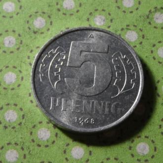 Германия монета 5 пфенингов 1968 год  !