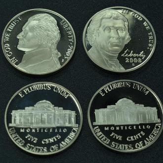 США, две монеты, 5 центов 2003 г и 5 центов 2008, чеканка ПРУФ
