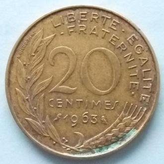Франция 20 сантимов, 1963