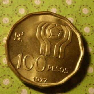 Аргентина 1977 год монета 100 песо футбол !