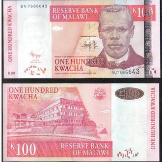 Малави _ 100 Квача _ 2011_UNC_ 5 банкнот _ лот № 18а