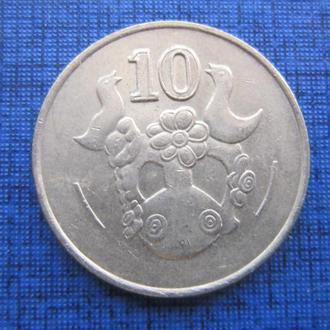 монета 10 центов Кипр 1994 фауна птицы