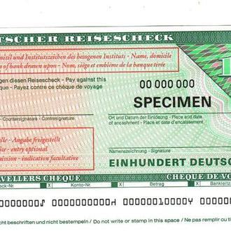 Дорожный Чек Германия ФРГ 100 доич марок Образец