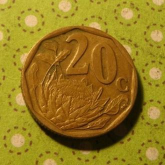 ЮАР 2007 год монета 20 центов Африка ПАР !