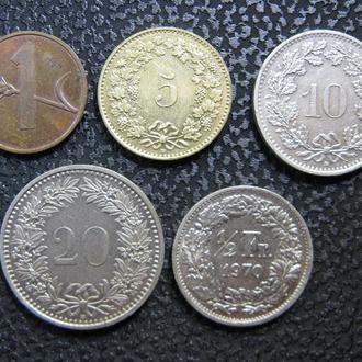 Монеты Швейцарии 5 шт.