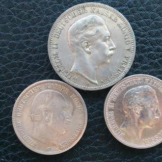 Комплект (3 штуки) Три и Две Марки Германия Пруссия 1976-1908 годы. Серебро.