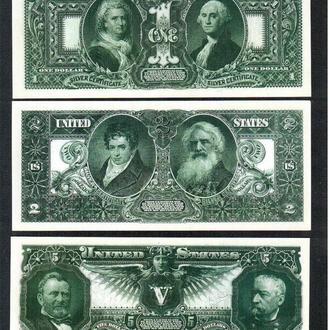 США _ 1 -2 - 5 $ _ 1896 г. _ копии