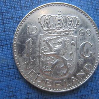 Монета 1 гульден Нидерланды 1969