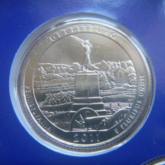 США 25 центов Национальный военный парк Геттисберг P 2011 UNC Из набора