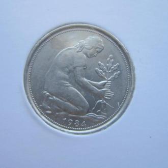 монета 50 пфеннигов ФРГ 1984 J