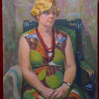 """Подпись А.В. """"Женский портрет"""" холст, масло."""
