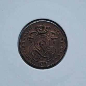 Бельгия 1 сантим 1887 г., UNC, РЕДКОЕ СОСТОЯНИЕ