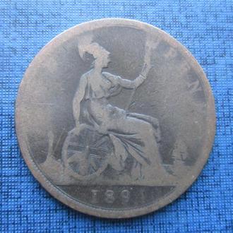 монета 1 пенни Великобритания 1894 Виктория нечастый год