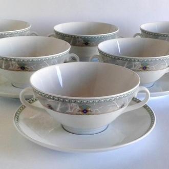 Суповые чашки 6 штук Seltmann Weiden фарфор Bavaria Germany