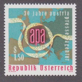 Австрия 1976 АГЕНТСТВО ПЕЧАТИ APA 30 ЛЕТ ПРЕССА ПЕЧАТЬ ПЕРИОДИКА ТЕЛЕТАЙП ЛЕНТА КАРТА Mi.1533**