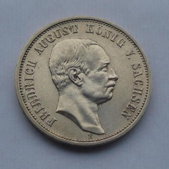 1909 г - 3 марки Германии,Саксония,серебро