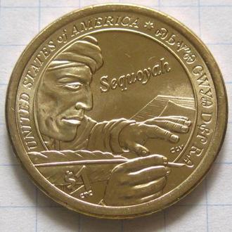 США_ 1 доллар 2017 года P  Сакагавея  Секвойи оригинал