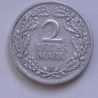 2 Рейхсмарки 1926 р J Срібло Німеччина 2 Марки 1926 J 2 Рейхсмарки 1926 г J Серебро Германия