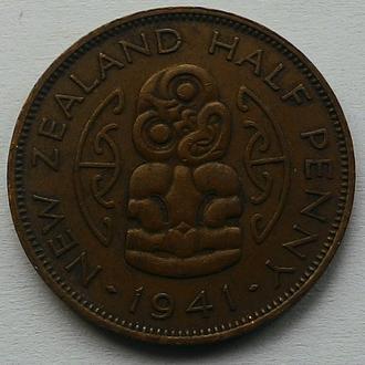 Новая Зеландия 1/2 пенни 1941 г. РЕДКИЙ ГОД!!!!!!