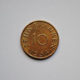 Саар 10 франков 1954 г., 'Протекторат Саар (1947-1956)'