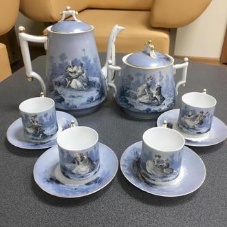 Чайный фарфоровый сервиз на 4 персоны, ручная роспись, Европа, середина 19 века