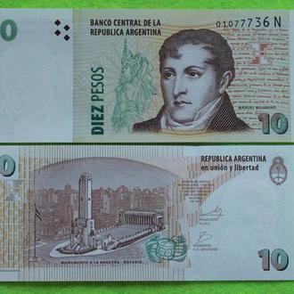 Аргентина 10 песо 2012 UNC