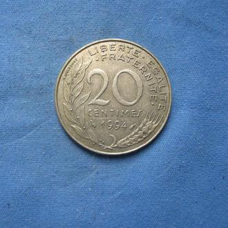 Франция 20 сантимов 1994 год