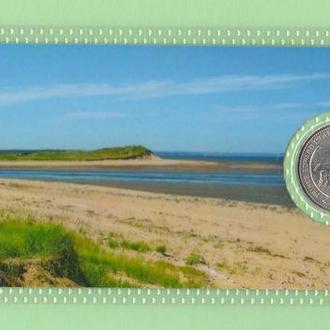 Монета КАНАДА 25 центов провинция PRINCE EDWARD ISLAND квотер 1992 год в пластике блистер запайка