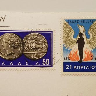 марка Греция 1968 год + Открытка