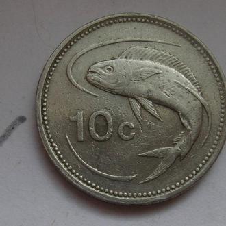 МАЛЬТА 10 центов 1986 г. (РЫБА).