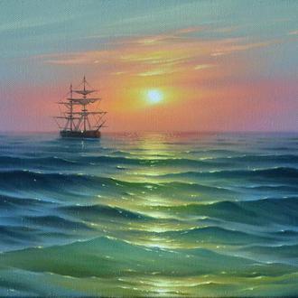 Встреча Рассвета в море 30х45