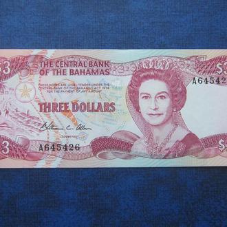 банкнота 3 доллара Багамы 1974 UNC пресс