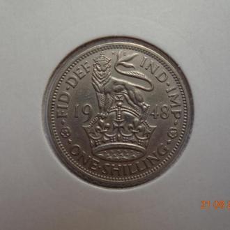 """Великобритания 1 шиллинг 1948 George VI """"English crest"""" отличное состояние редкая"""