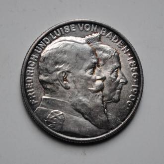 Баден 2 марки 1906 г., UNC, '50 лет свадьбе Фридриха I и Луизы Прусской'