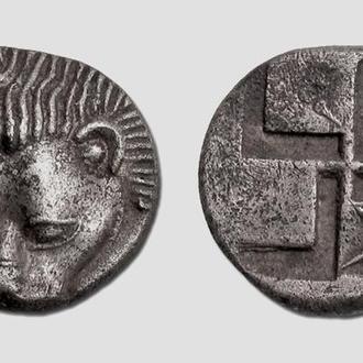 (А)2197 - Пантикапей (460—450 до н.э.) AR Диобол