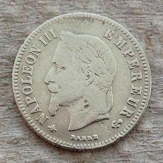 20 сантимов, 1864 А, Франция,серебро, редкая