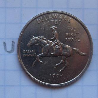 """США, 25 центов 1999 года (ШТАТ ДЭЛАВЭР) """"Д""""."""
