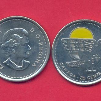 Монеты Америка Канада  25 центов Орел ЭМАЛЬ 2011 г.