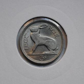 Ирландия 3 пенса 1966 г., UNC