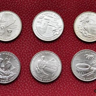 25 центов 2009 г. территории США Гуам, Самоа, Коламбия, Марианские , Виргинские о-ва, 6 шт. из ролла