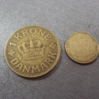 монета дания 1 крона 1925 №984