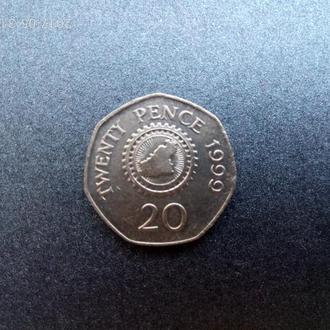 Гернси 20 пенсов 1999 Сохран!