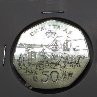 50 пенсов 1980 Рождество остров Мэн, серебро, пруф, тираж 5 000 экз.RARE!